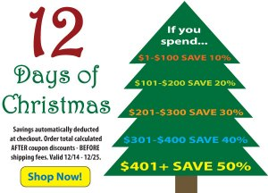 Save up to 50% during the 12 Days of Christmas!