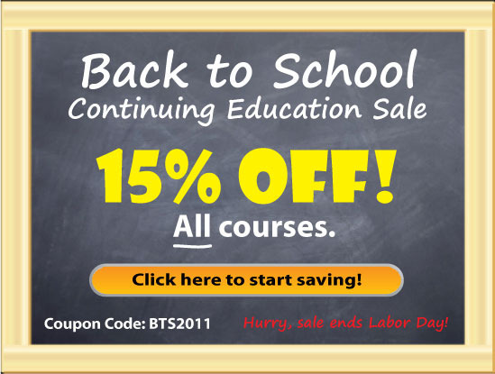 Save 15% on continuing education (CE) with our back to school sale!