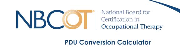 NBCOT PDU Conversion Calculator